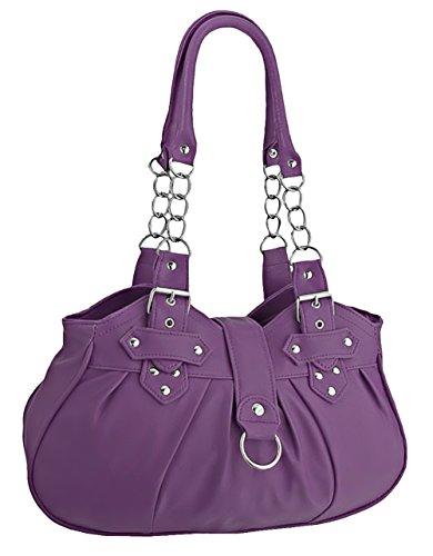 EyeCatchBags - Huron Damen Schultertasche / Handtasche aus Kunstleder Purple