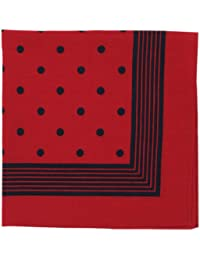 Bandana or Large Handkerchief (B25) - Large Red With Navy Polka Dots