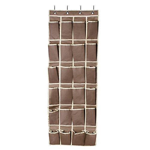 FAMLOVE Hängeorganizer Tür Schuhe Organizer Shoe Storage Rack 24 Taschen 600D Oxford Türschuhregal für Schlafzimmer, Baby Zimmer, Küche, Büro (Kaffeefarbe)