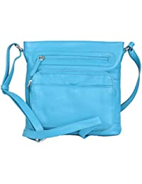 Pielino Genuine Leather Travel Crossbody Handbag With Organizer Pocket 3102 (Turquoise)