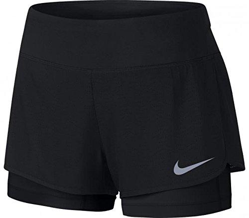 Nike Damen W NK Flex 2IN1 Short Rival 2-in-1-Laufshorts, Schwarz/Schwarz, XS (Short Schwarz Nike Running)