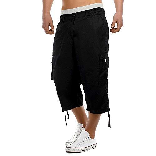 OEAK Homme Shorts Cargo Pantacourt Coton Multi Poches Loisirs 3/4 Short Casual Eté Lâche Outdoo