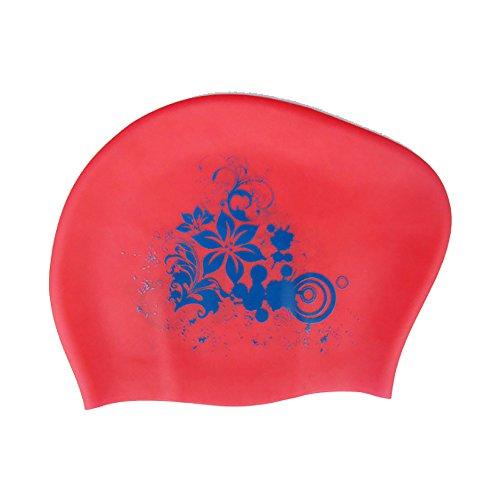 Rocita Badekappe, Damen Schwimmkappe für Lange Haare Nahtlose Silikon Badekappe, Lilien, Rot