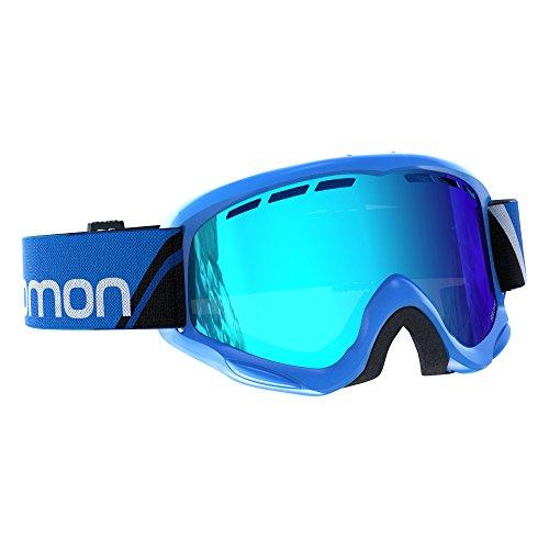 Salomon Kinder Skibrille (6-12 Jahre) für Brillenträger, Für verschiedenste Wetterverhältnisse, Blaue Multilayer Scheibe (auswechselbar), Airflow-System, blau, Juke, L39136800