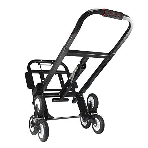 Carretillas de Mano Plegables Aluminio, Carretilla de Transporte con 3 Ruedas Carro Escaleras Portátil Carretilla Profesional 330lb/150kg Trabajos Pesados Shopping Trolley Altura Ajustable
