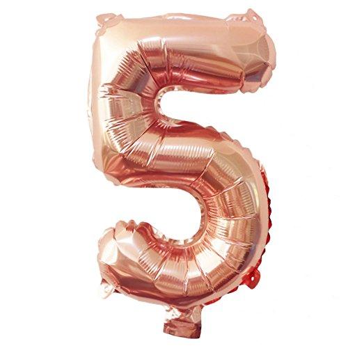 Glanzzeit® 40cm Rosa Gold Luftballons Buchstaben A bis Z Zahlen 0 bis 9 Verlobung Hochzeit Babyparty Jubiläum Geburtstag Party Weihnachten Fest Deko Folienballons (Zahl 5)