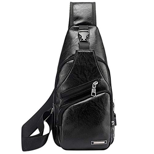 VECDY Herren Umhängetasche Ladetasche Sport USB Brusttasche Outdoor-Paket Tasche Frauen Messenger Bags Stickerei Rose Crossbody Schultertasche Kettenbeutel