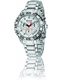 Sector Men's Watch R3273679145 In Collection Pilot Master, Chrono 42mm with White Dial and Stainless Steel Bracelet