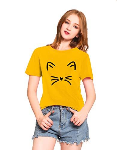 fa26b4cfc0 PINJIA Mujers Cat T-Shirt Tops Graphic Tees Camiseta para Mujer(XXXL, Yellow