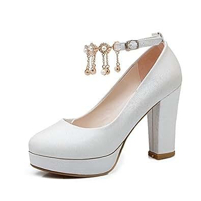 BalaMasa Girls Solid Pointed-Toe White Imitated Leather Pumps-Shoes - 7 UK