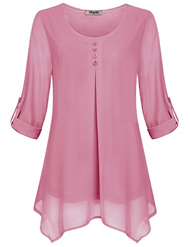 Hibelle Frauen Bluse Chiffon Oberteil Damen überlagerte Hemden Dressy Geschäft Lässige Flowy schmeichelnde Tuniken Cuffed Sleeve Roll up Ausgehen Sommer Kleidung Mode 2018 Rosa groß L