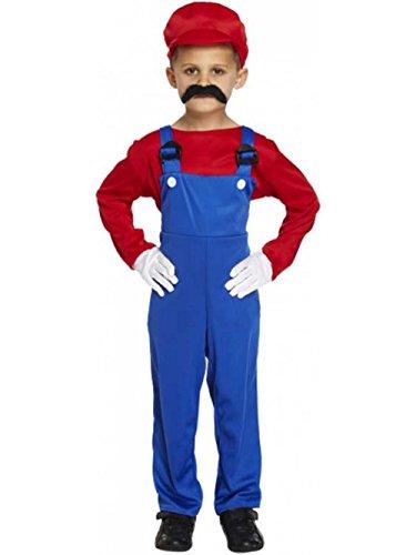 Kinder Kostüm Super Handwerker Mario Verkleidung Größe M / 122 - 134