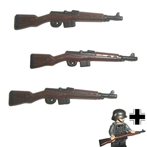 Custom Brick Design 3X G43 Karabiner Gewehr DR im WW2 Bi-Color Print V.2 - Soldaten Waffe für Lego Figuren
