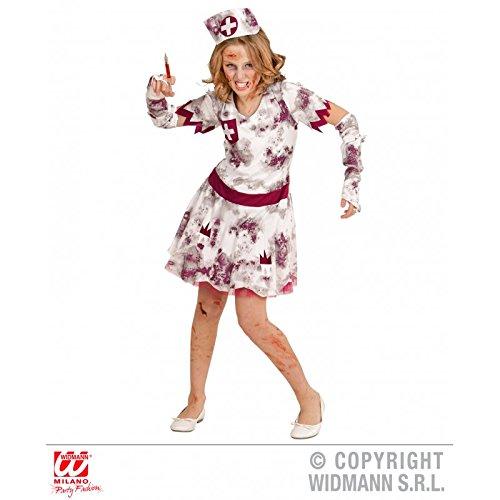 Kostüm Zombie Krankenschwester für Kinder / Kleid mit Handschuhen und Haube / Kinderkostüm Halloween Gr. 140 ( 8 - 10 Jahre (Handschuhe Krankenschwester Kostüm)