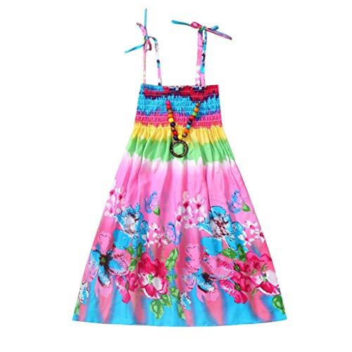 JUTOO Säuglingskindermädchenbaby-Kleidungs-Nationale Art mit Blumenböhmisches Strandgurt-Kleid ()