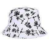 Mengonee Kokosnuss-Baum-Muster Weit Hutkrempe Sonnenhut Sommer-Strand-Fischer-Hut atmungsaktive Baumwolle Cap