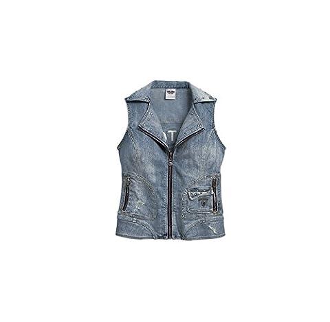 Harley-Davidson Pieced Denim Vest 96029-17VW Damen Outerwear, blue, S (Harley Davidson Chaps)