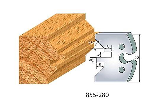 280 : Jeu de 2 fers lame de volet ht 50 mm pour porte outils entr'axe plot 24 mm