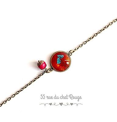 bracelet chaine fine, cabochon coquelicot, fleur des champs, rouge et turquoise, bracelet fin