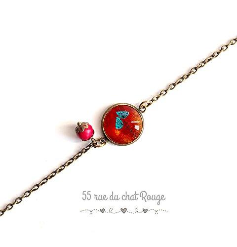 pulsera de cadena fina, cabujón de amapola, flor de los campos, rojo y turquesa, pulsera final