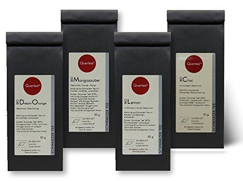 Schwarzer Tee / Schwarztee Geschenkset Probierset Biotee Quertee® Nr. 34 - 4 x 50 g - Tee Geschenk