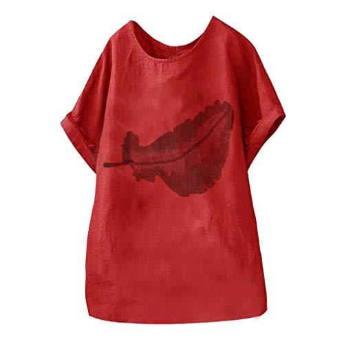 OIKAY Damen Lose Asymmetrisch Sweatshirt Pullover Bluse Oberteile Oversized Top T-Shirt Fashion Womens Plus Size Lässige Kleidung Oberteile Blätter Druck Sommer Kurzarm Bluse (Kleid Plus Size Schickes Womens)