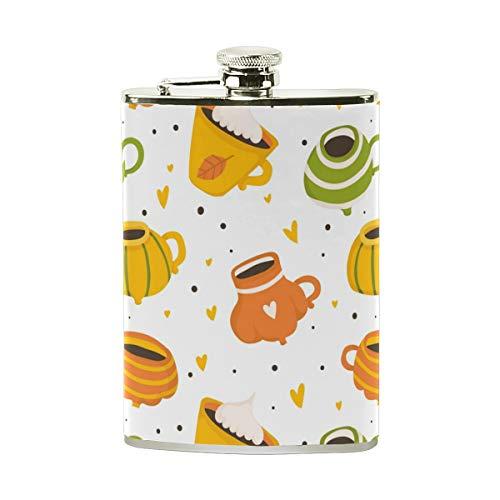 Jeansame Mini-Flachmann, Edelstahl, 227 ml, für Damen, Herren, süßer Tee, Liebe, Halloween, Erntedankfest, Herbst, Herbst