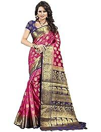 Dealsure Women's Banarasi Silk Saree With Blouse Piece (Multicolored)