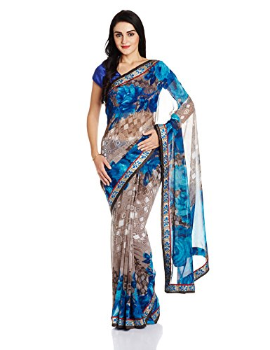 Jashn Saree with Blouse Piece (2296FAB_Blue_Free Size)