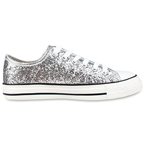 Best-Boots - Chaussure De Sport Femme - Sneakers Chaussure Basse Lacets Silber Silber Glitzer Nuovo