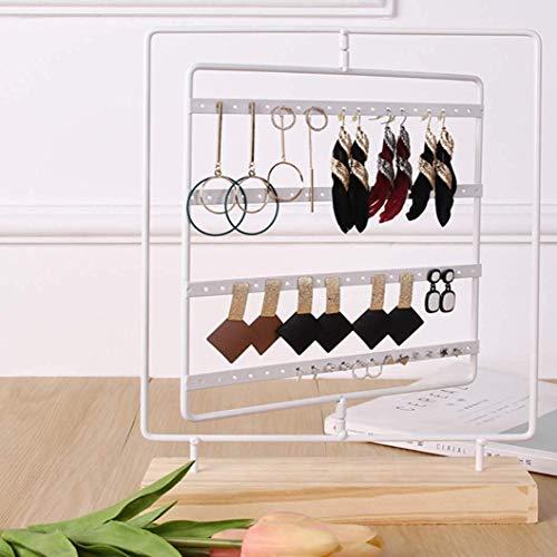 ZHAS Schmuck Aufbewahrungsbox Aufbewahrung Display Rack Schmiedeeisen rechteckige Regal Ohrringe Schmuck Rack weiß -