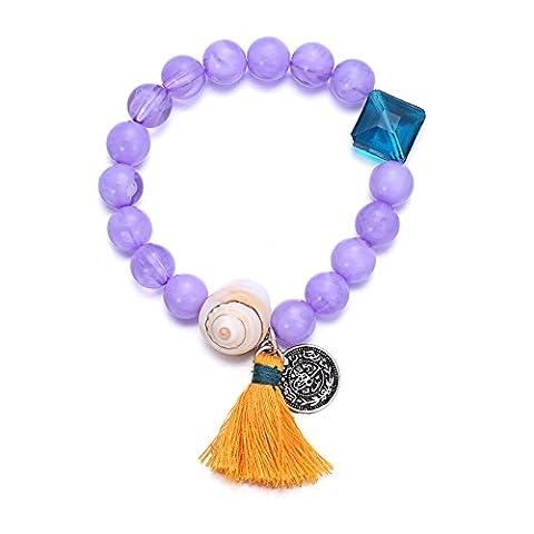 eManco Multicolore de Bois Perles Extensibles Bracelet avec Pompon Charms pour les Femmes Bijoux