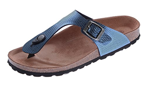 Damen Bio Pantoletten Gemini Zehentrenner Clogs Jeans-Blau Sandalen Leder-Kork-Fußett Schuhe Latschen Gr. 37 (Clogs Leder Denim)