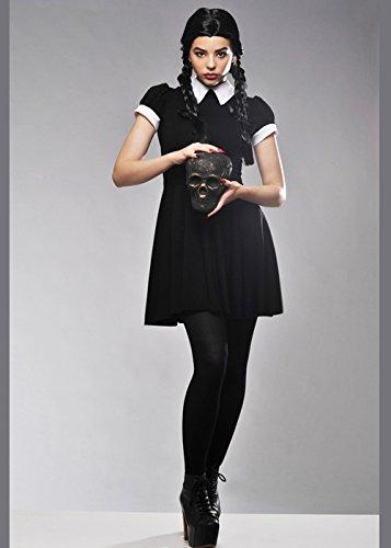 Erwachsene Damen Mittwoch Adams Style Kostüm S/M (UK (Kostüm Adam Uk Schwarz)