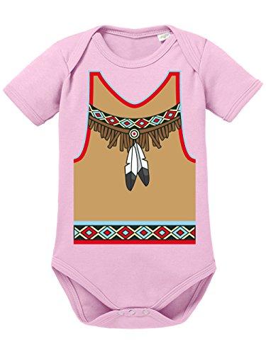 Mädchen Kostüm Village People - clothinx Baby Body Unisex Karneval 2019 Indianer-Kostüm Hellrosa Größe 62-68
