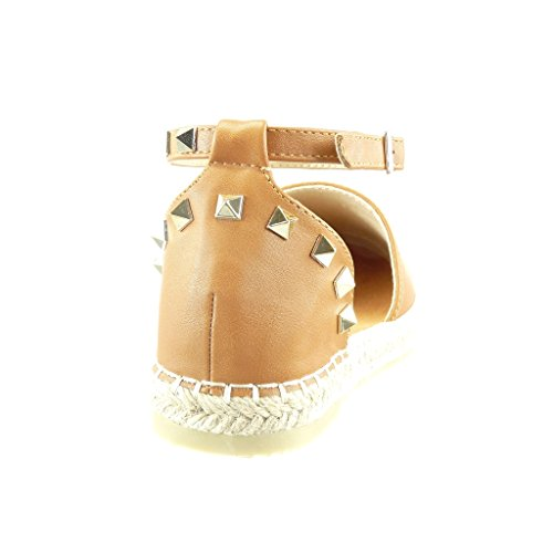 Angkorly Damen Schuhe Espadrilles Sandalen - Offen - Nieten - Besetzt - Quadrat - Seil Blockabsatz 2.5 cm Camel
