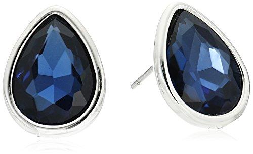 Kenneth Cole New York Dark Blue and Silver Tear Drop Stud Earrings