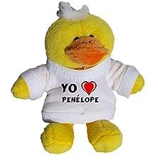 Pollo de peluche (llavero) con Amo Penélope en la camiseta (nombre de pila/apellido/apodo)