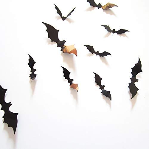 AimdonR Halloween 3D Fledermäuse Wandaufkleber, Halloween Eve Decor Home Fenster Dekoration Set, 60pcs, Party Supplies
