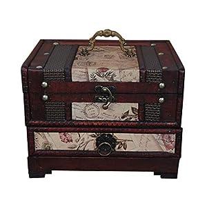 ISOTO Retro-Schmuckkästchen/Aufbewahrungsbox aus Holz mit Spiegel für Gilrs Freundin Frauen zum Muttertag, 22 x 16 x 16…