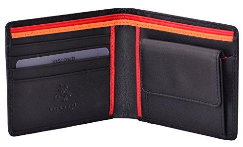 Visconti portafoglio di pelle da uomo a piegatura doppia 'BOND' Luxury Leather Wallet (BD10): (nero/rosso (Blk/Red))