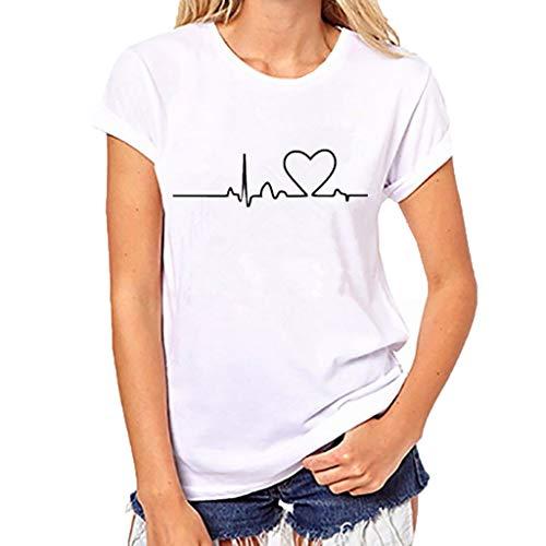 Damen Mädchen Plus Size Print Tees Shirt Kurzarm T Shirt Bluse Tops