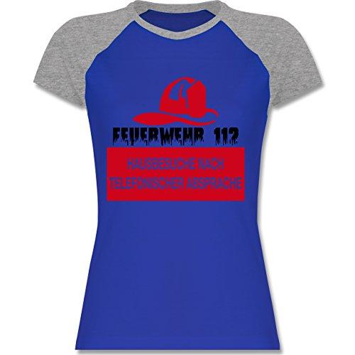 Feuerwehr - Feuerwehr 112 - Hausbesuche nach telefonischer Absprache - zweifarbiges Baseballshirt / Raglan T-Shirt für Damen Royalblau/Grau meliert