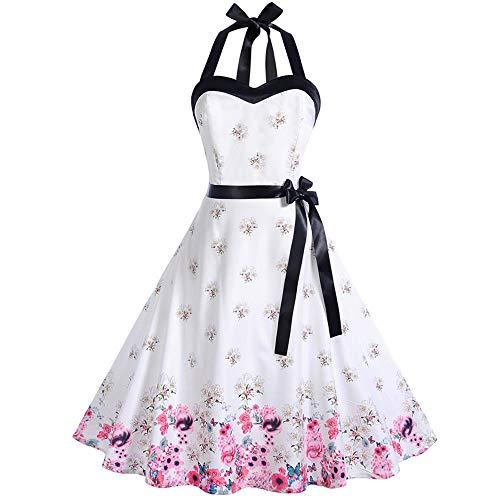 MOIKA Damen Kleider Elegant Neckholder Rockabilly 50er Vintage Retro Kleid Petticoat Faltenrock...