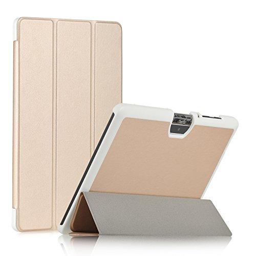 Acer Iconia One 10 B3-A30 Hülle, IVSO Ultra Schlank Superleicht Ständer Slim Leder zubehör Schutzhülle für Acer Iconia One 10 (B3-A30) 25,7 cm (10,1 Zoll HD) Tablet-PC perfekt geeignet (Golden)