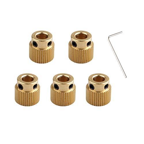 5 extrusores de impresora 3D, accesorios de rueda de engranaje, engranaje de transmisión de latón para extrusor MK7 MK8 de 40 dientes de diámetro de 5 mm de luz y 1 llave de 1,5 mm para impresora 3D