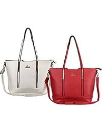 Lavie Beaver Medium Red And White Handbags For Women(Combo)