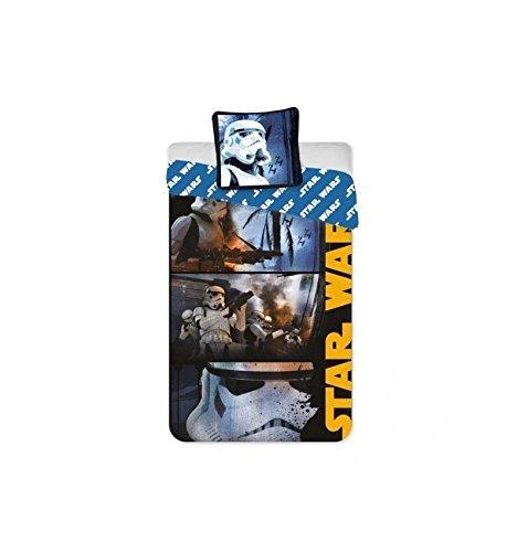 Star Wars Parure de lit 1 Place Housse de Couette, Microfibre, Multicolore, 200×140 cm