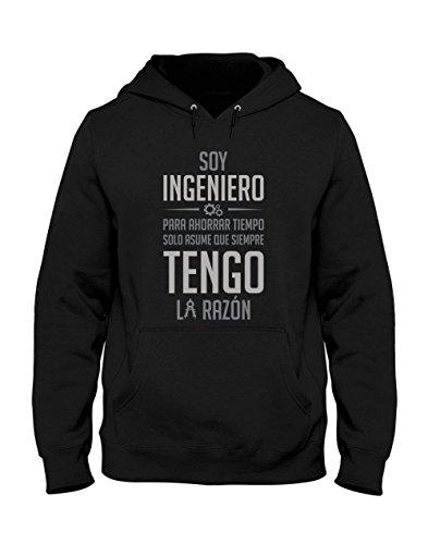 Sudadera con Capucha para Hombre - Soy Ingeniero Solo Asume Que Siempre Tengo la Razón - Regalo Original para Ingenieros Large Negro