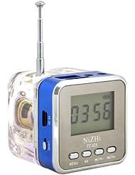 Mini Altavoz Tera mp3 cubo / Mini Altavoz / altavoz jack 3.5 FM Radio LCD Tarjeta TF ranura USB / Micro SD para portátil, tablet, coche, coche, MP3 MP4 iPod, iPhone, iPad, Samsung Galaxy, Sony, Nokia etcétera azul